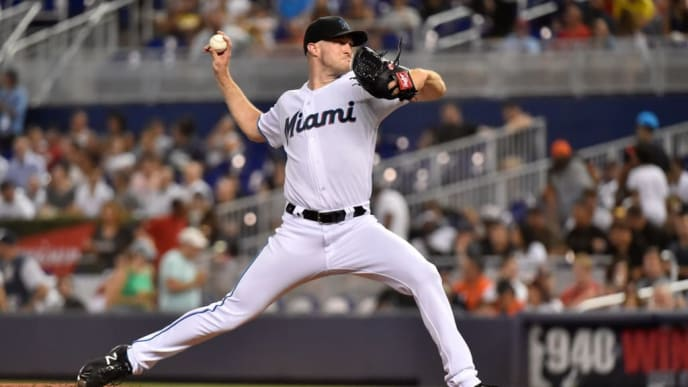 MIAMI, FL - JULY 17: Trevor Richards #36 of the Miami Marlins throws a pitch during the game against the San Diego Padres at Marlins Park on July 17, 2019 in Miami, Florida. (Photo by Eric Espada/Getty Images)