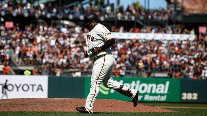 SAN FRANCISCO, CA - SEPTEMBER 01: Pablo Sandoval #48 of the San Francisco Giants returns to the dugout after an at bat against the San Diego Padres during the seventh inning at Oracle Park on September 1, 2019 in San Francisco, California. The San Diego Padres defeated the San Francisco Giants 8-4. (Photo by Jason O. Watson/Getty Images)