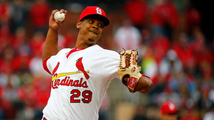 ST. LOUIS, MO - APRIL 5: Alex Reyes #29 of the St. Louis Cardinals delivers a pitch against the San Diego Padres in the seventh inning at Busch Stadium on April 5, 2019 in St. Louis, Missouri.  (Photo by Dilip Vishwanat/Getty Images)