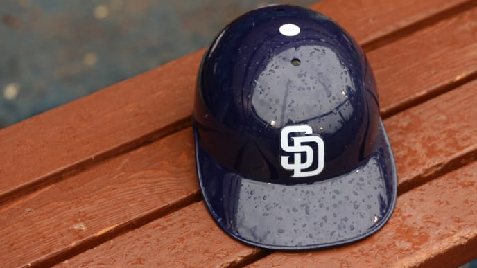 PHILADELPHIA - JULY 25: A San Diego Padres batting helmet sits on the bench during a game against the San Diego Padres at Citizens Bank Park on July 25, 2011 in Philadelphia, Pennsylvania. The Padres won 5-4. (Photo by Hunter Martin/Getty Images)