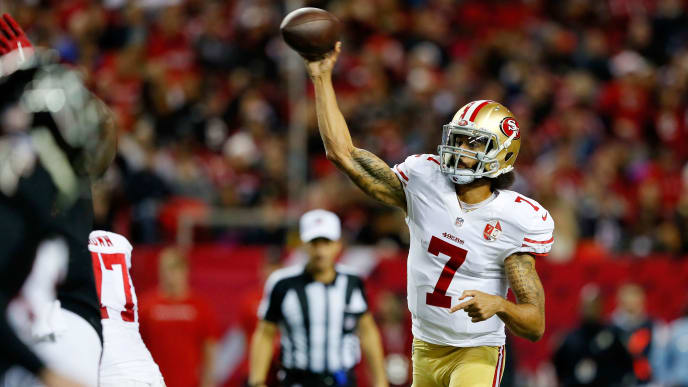 ATLANTA, GA - DECEMBER 18: Colin Kaepernick #7 of the San Francisco 49ers throws a pass during the first half against the Atlanta Falcons at the Georgia Dome on December 18, 2016 in Atlanta, Georgia. (Photo by Kevin C. Cox/Getty Images)