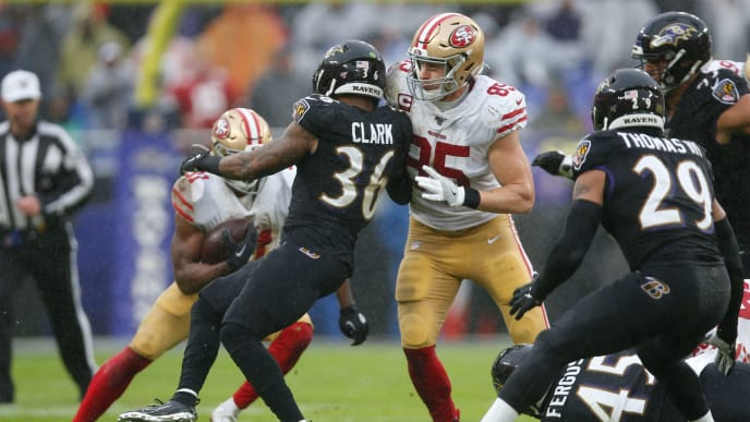 George Kittle Blocking Chuck Clark.