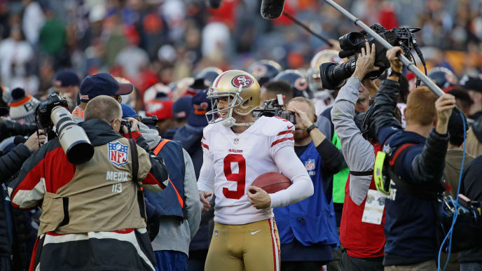 CHICAGO, IL - DECEMBER 03:   Robbie Gould #9 of the San Francisco 49ers is surrounded after a win against the Chicago Bears at Soldier Field on December 3, 2017 in Chicago, Illinois. The 49ers defeated the Bears 15-14. (Photo by Jonathan Daniel/Getty Images)