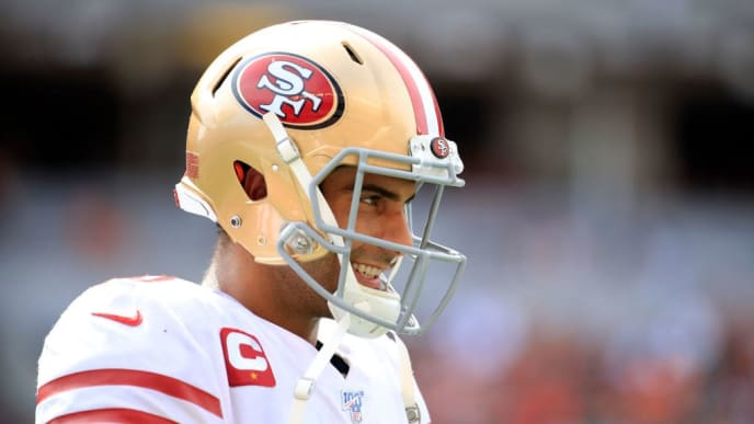 CINCINNATI, OHIO - SEPTEMBER 15:   Jimmy Garoppolo #10 of the San Francisco 49ers during the game against the Cincinnati Bengals at Paul Brown Stadium on September 15, 2019 in Cincinnati, Ohio. (Photo by Andy Lyons/Getty Images)