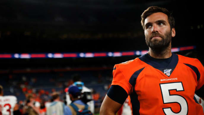 DENVER, CO - AUGUST 19:  Quarterback Joe Flacco #5 of the Denver Broncos looks on following a 24-15 loss in a preseason game against the San Francisco 49ers at Broncos Stadium at Mile High on August 19, 2019 in Denver, Colorado. (Photo by Justin Edmonds/Getty Images)