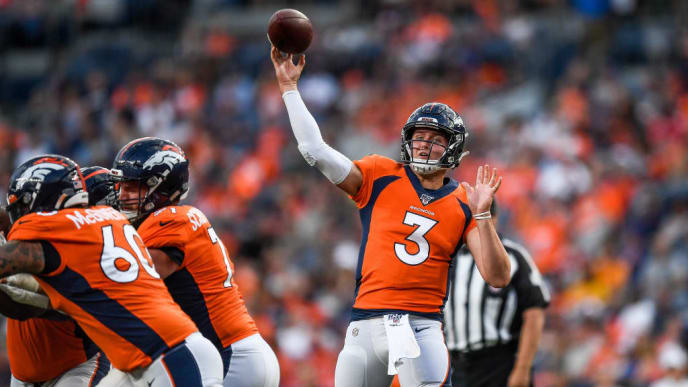 DENVER, CO - AUGUST 19:  Quarterback Drew Lock #3 of the Denver Broncos passes against the San Francisco 49ers in the second quarter during a preseason National Football League game at Broncos Stadium at Mile High on August 19, 2019 in Denver, Colorado. (Photo by Dustin Bradford/Getty Images)