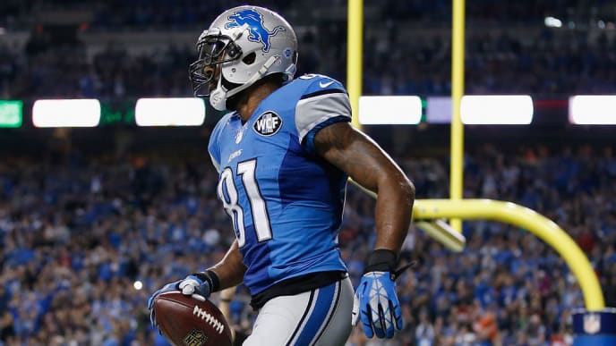 DETROIT, MI - DECEMBER 27: Calvin Johnson #81 of the Detroit Lions celebrates a fourth quarter touchdown against the San Francisco 49ers at Ford Field on December 27, 2015 in Detroit, Michigan. (Photo by Gregory Shamus/Getty Images)