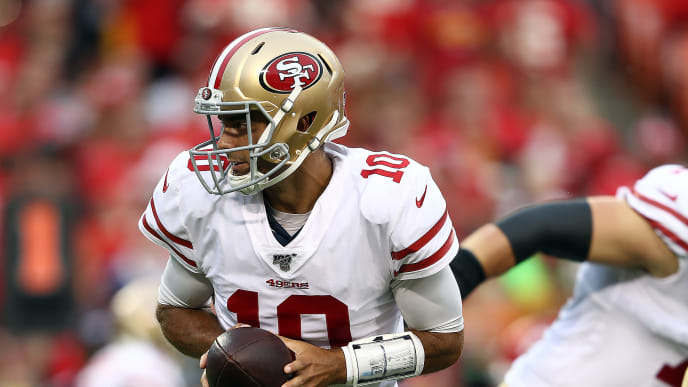 KANSAS CITY, MISSOURI - AUGUST 24:  Quarterback Jimmy Garoppolo #10 of the San Francisco 49ers in action during the preseason game against the Kansas City Chiefs at Arrowhead Stadium on August 24, 2019 in Kansas City, Missouri. (Photo by Jamie Squire/Getty Images)