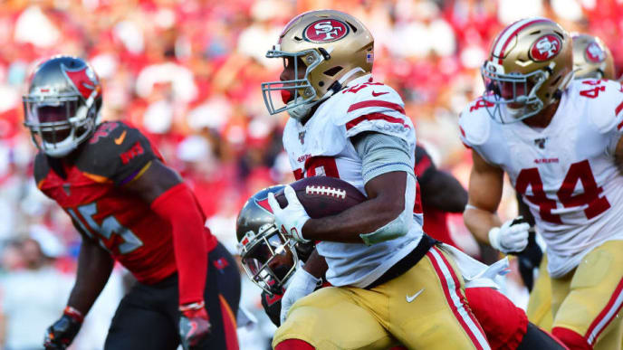 TAMPA, FLORIDA - SEPTEMBER 08: Matt Breida #22 of the San Francisco 49ers runs for a first down in the third quarter of a game against the Tampa Bay Buccaneers at Raymond James Stadium on September 08, 2019 in Tampa, Florida. (Photo by Julio Aguilar/Getty Images)