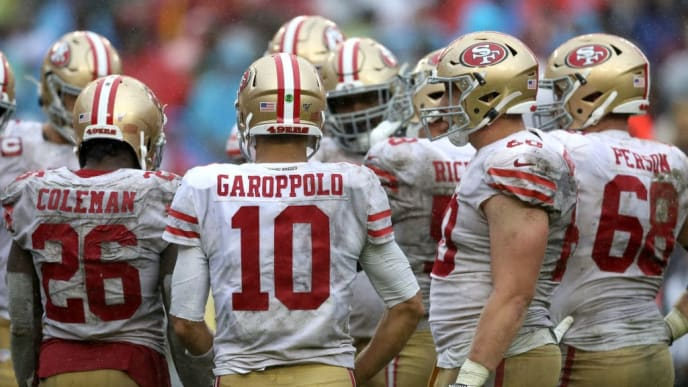 LANDOVER, MARYLAND - OCTOBER 20: Jimmy Garoppolo #10 of the San Francisco 49ers looks on against the Washington Redskins at FedExField on October 20, 2019 in Landover, Maryland. (Photo by Rob Carr/Getty Images)