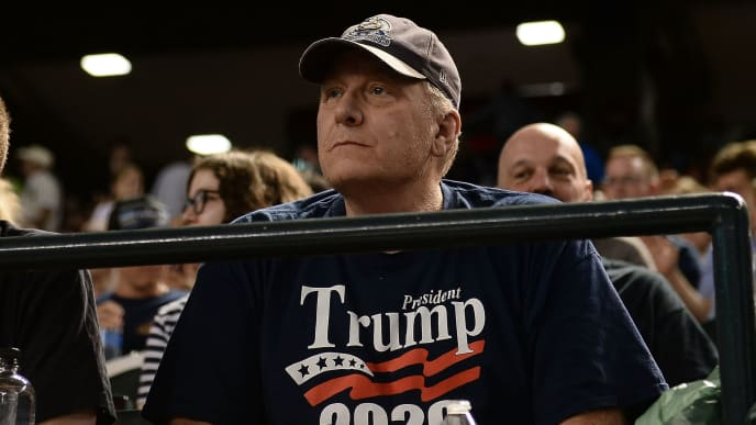 PHOENIX, AZ - AUGUST 03:  Curt Schilling watches the MLB game between the San Francisco Giants and Arizona Diamondbacks at Chase Field on August 3, 2018 in Phoenix, Arizona.  (Photo by Jennifer Stewart/Getty Images)