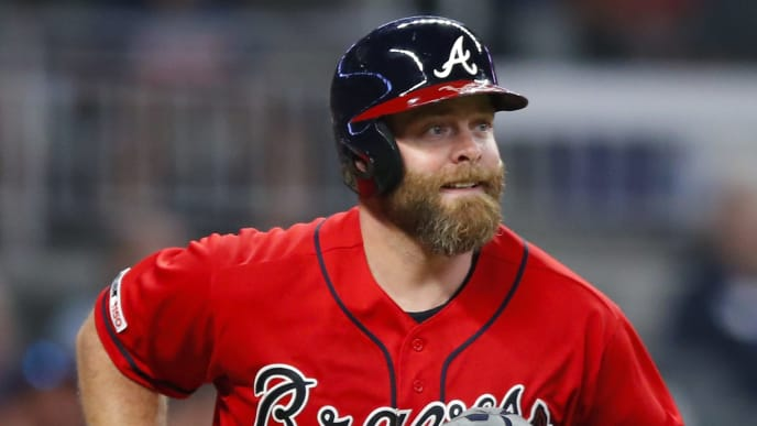 ATLANTA, GA - SEPTEMBER 20: Brian McCann #16 of the Atlanta Braves runs the bases after hitting a home run in the sixth inning of an MLB game against the San Francisco Giants at SunTrust Park on September 20, 2019 in Atlanta, Georgia. (Photo by Todd Kirkland/Getty Images)