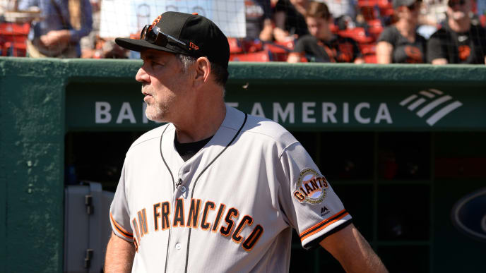 BOSTON, MA - SEPTEMBER 19: Fans show support for San Francisco Manager Bruce Bochy completing his 2,000th career win prior to the start of the game against the Boston Red Sox at Fenway Park on September 19, 2019 in Boston, Massachusetts. (Photo by Kathryn Riley/Getty Images)