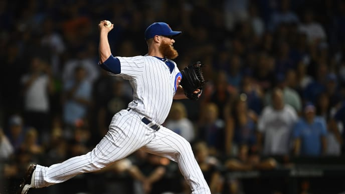 CHICAGO, ILLINOIS - AUGUST 20:  Craig Kimbrel #24 of the Chicago Cubs throws a pitch during the ninth inning against the San Francisco Giants at Wrigley Field on August 20, 2019 in Chicago, Illinois. (Photo by Stacy Revere/Getty Images)