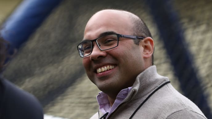 LOS ANGELES, CALIFORNIA - APRIL 03: Farhan Zaidi, former Los Angeles Dodgers General Manager and current President of Baseball Operations for the San Francisco Giants, looks on during batting practice prior to the MLB game between the San Francisco Giants and the Los Angeles Dodgers at Dodger Stadium on April 03, 2019 in Los Angeles, California. (Photo by Victor Decolongon/Getty Images)