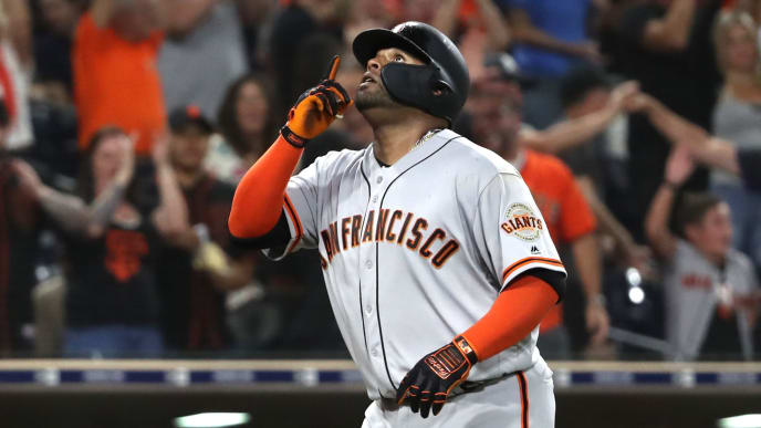 SAN DIEGO, CALIFORNIA - JULY 26:  Pablo Sandoval #48 of the San Francisco Giants reacts at the plate after hitting a solo homerun during the eleventh inning of a game against the San Diego Padresat PETCO Park on July 26, 2019 in San Diego, California. (Photo by Sean M. Haffey/Getty Images)