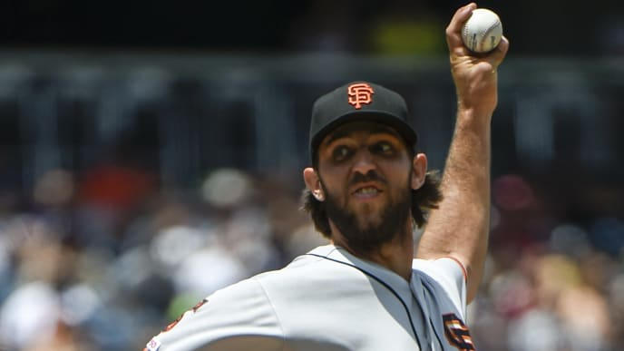 SAN DIEGO, CA - JULY 28: Madison Bumgarner #40 of the San Francisco Giants pitches during the first inning of a baseball game against the San Diego Padres at Petco Park July 28, 2019 in San Diego, California.  (Photo by Denis Poroy/Getty Images)