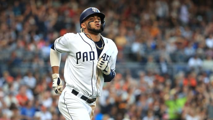 SAN DIEGO, CALIFORNIA - JULY 27:  Fernando Tatis Jr. #23 of the San Diego Padres celebrates after hitting a two-run homerun during the fifth inning of a game against the San Francisco Giantsat PETCO Park on July 27, 2019 in San Diego, California. (Photo by Sean M. Haffey/Getty Images)