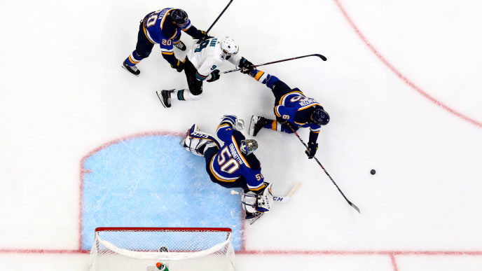 ST LOUIS, MISSOURI - MAY 21: Jordan Binnington #50 of the St. Louis Blues makes a save against the San Jose Sharks in Game Six of the Western Conference Finals during the 2019 NHL Stanley Cup Playoffs at Enterprise Center on May 21, 2019 in St Louis, Missouri. (Photo by Dilip Vishwanat/Getty Images)