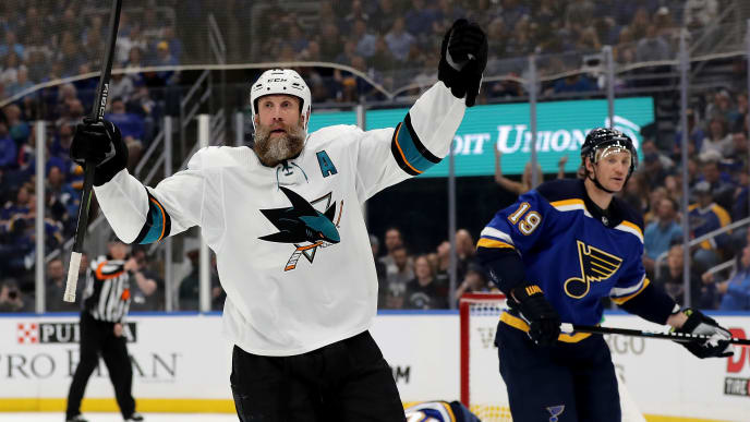 ST LOUIS, MISSOURI - MAY 15: Joe Thornton #19 of the San Jose Sharks celebrates after scoring a goal on Jordan Binnington #50 of the St. Louis Blues during the first period in Game Three of the Western Conference Finals during the 2019 NHL Stanley Cup Playoffs at Enterprise Center on May 15, 2019 in St Louis, Missouri. (Photo by Elsa/Getty Images)