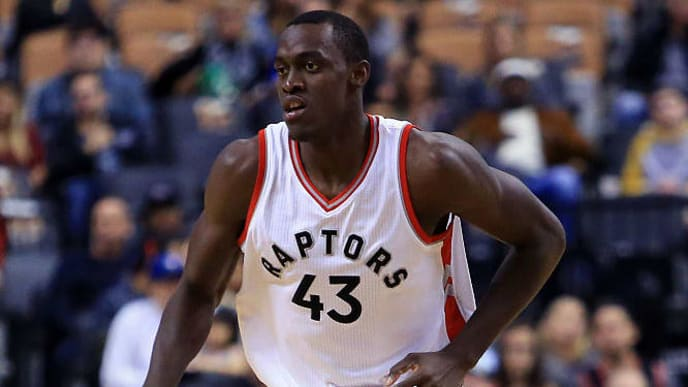 TORONTO, ON - OCTOBER 14: Pascal Siakam #43 of the Toronto Raptors runs up the court during a NBA preseason game against San Lorenzo de Almagro at Air Canada Centre on October 14, 2016 in Toronto, Canada. NOTE TO USER: User expressly acknowledges and agrees that, by downloading and or using this photograph, User is consenting to the terms and conditions of the Getty Images License Agreement. (Photo by Vaughn Ridley/Getty Images)