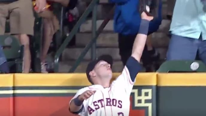 Kyle Tucker robs Scott Heineman's potential homer in most casual way possible.