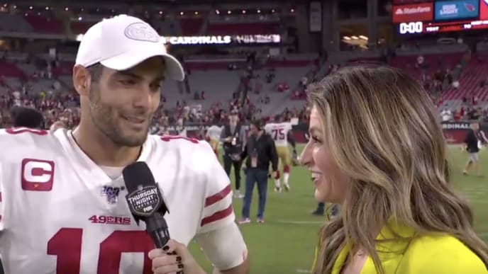 Jimmy Garoppolo To Erin Andrews It Feels Great Baby