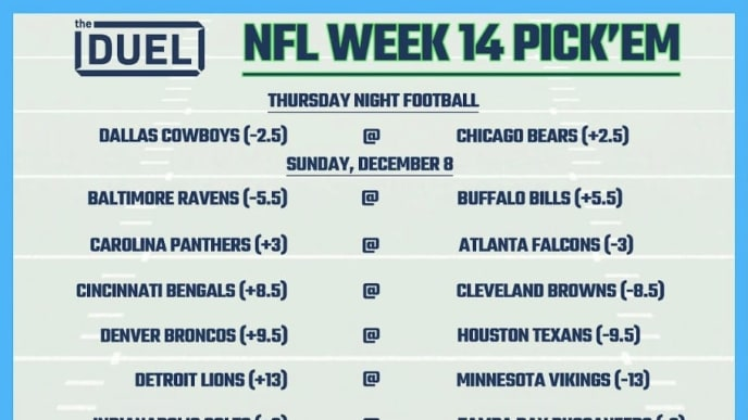 NFL Week 14 pick 'em sheet with lines and spreads from FanDuel Sportsbook