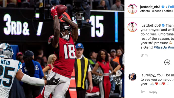 Calvin Ridley revealed on instagram he's out for the season with an abdominal injury