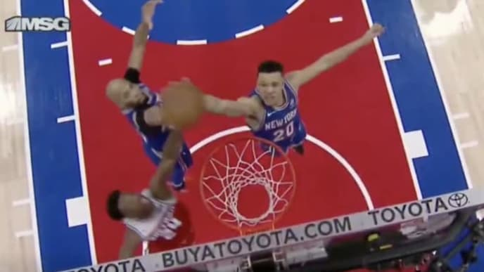 Kevin Knox accidentally dunks in his own basket