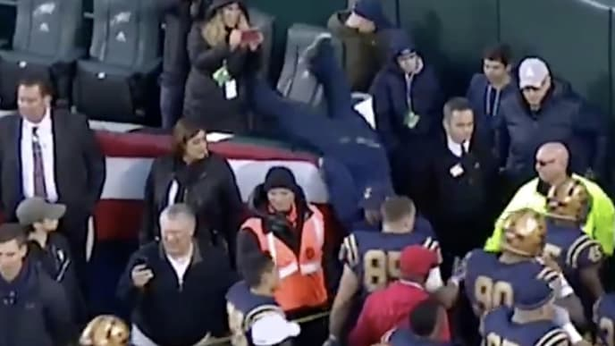 Video Fan Falls On His Face Trying To High Five Navy