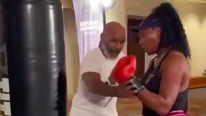 Watch out, tennis world, Serena Williams is getting heavy bag tips from Iron Mike Tyson.