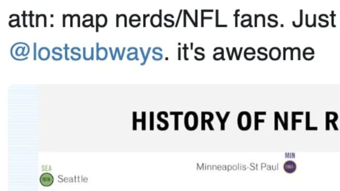 NFL Franchise relocation map by @lostsubways
