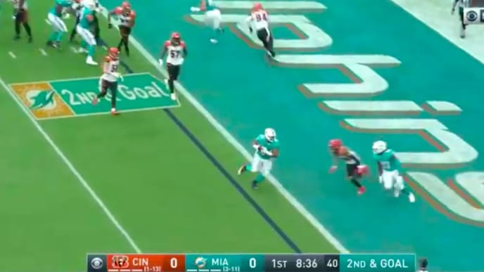 A touchdown for Dolphins DT Christian Wilkins