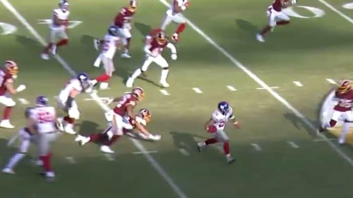 Saquon Barkley consiguiendo un touchdown contra Washington Redskins