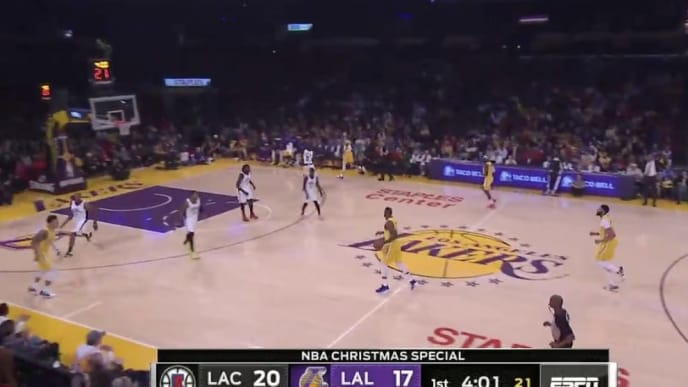 ESPN's new camera angle for Los Angeles Lakers vs Los Angeles Clippers on Christmas Day.