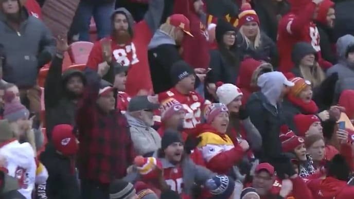 Kansas City Chiefs fans go wild after learning of the Miami Dolphins' late TD against the Patriots
