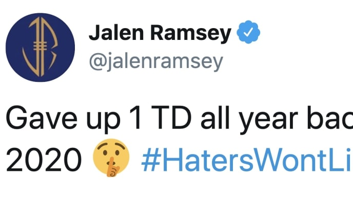 Los Angeles Rams CB Jalen Ramsey has lofty expectations for himself in 2020