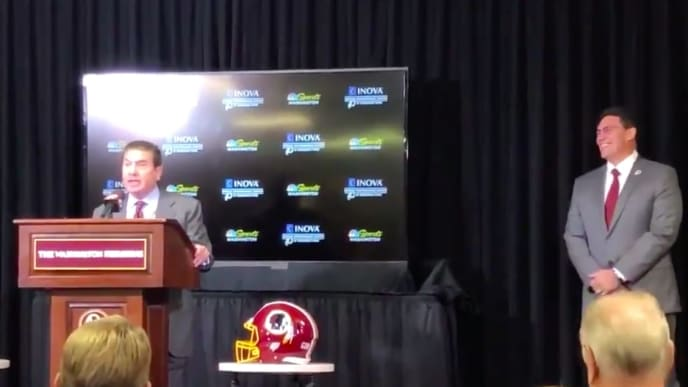 Dan Snyder actually wished the media 'Happy Thanksgiving' while introducing Ron Rivera.