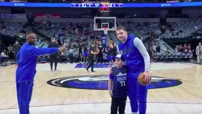 One Dallas Mavericks fan got the surprise of his life when he was brought out to meet Luka Doncic