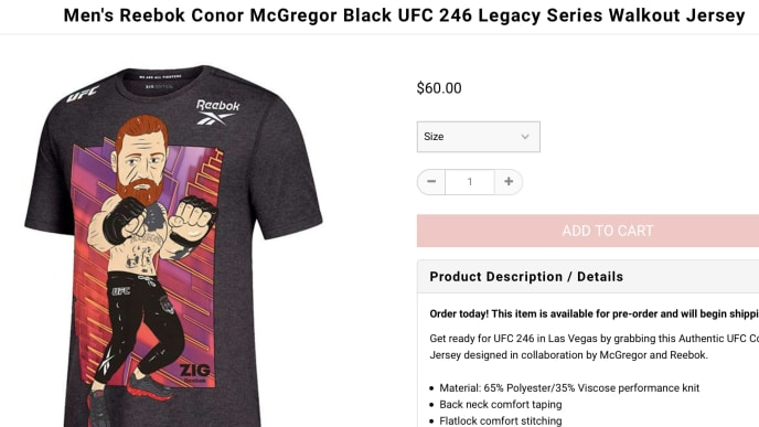 """Witness this new Reebok """"walkout jersey"""" featuring a really inaccurate likeness of Conor McGregor!"""
