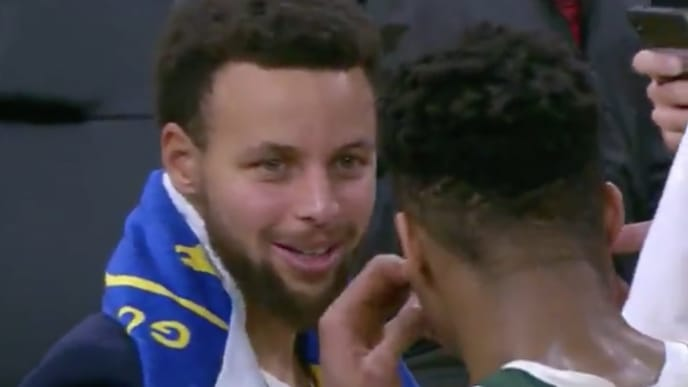 Curry talking to Giannis post-game is a terrifying thought for NBA fans who like polarity.