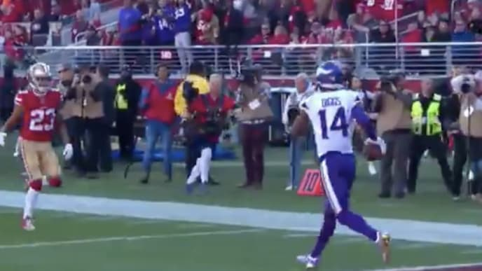 Stefon Diggs burns his man and finishes off the Vikings TD at Levi's Stadium