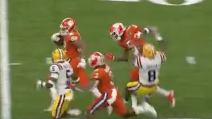 Clemson WR Tee Higgins was flagged for a nonsense personal foul call after a big block