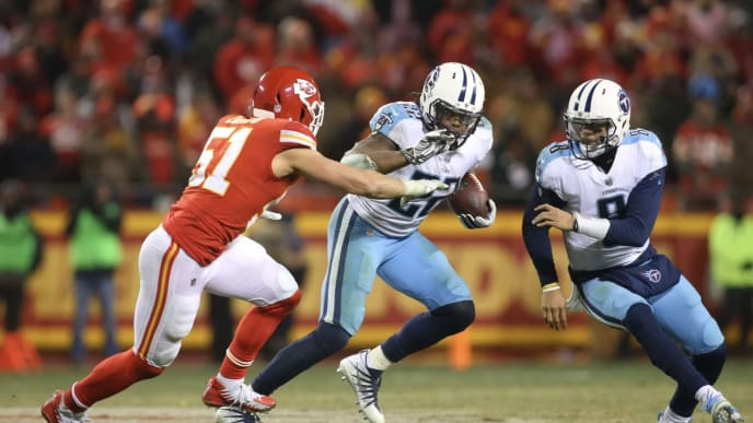 Derrick Henry led the league in rushing yards this season and is doing the same in the playoffs.