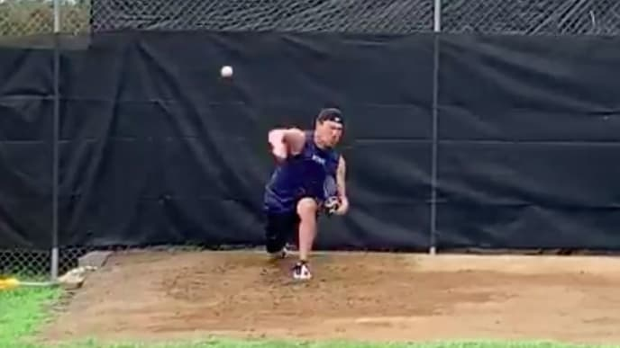 New York Yankees pitcher Masahiro Tanaka is throwing off a mound once again.