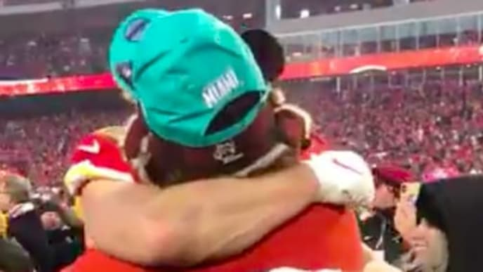 The Kelce brothers shared an embrace after the Kansas City Chiefs advanced to the Super Bowl.