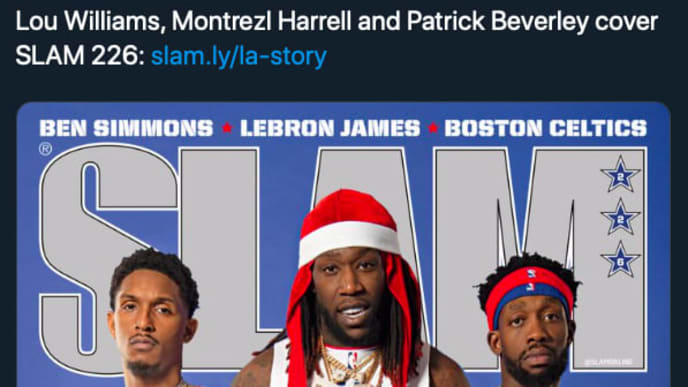 Lou Williams, Montrezl Harrell and Patrick Beverley pose for the cover of the latest SLAM edition.