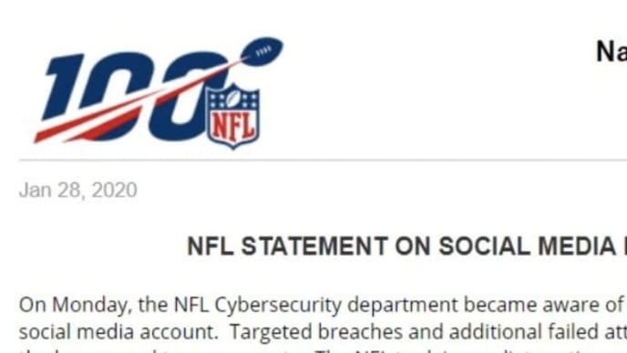 NFL releases statement on social media platform hacking