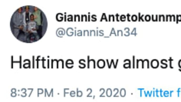 Giannis Antetokounmpo had a hilarious, yet real, reaction to Super Bowl Halftime Show.